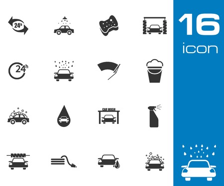 Vector black  car wash  icons set on gray background Illustration