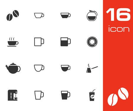 coffee set: Vector black  coffe   icons set on white background
