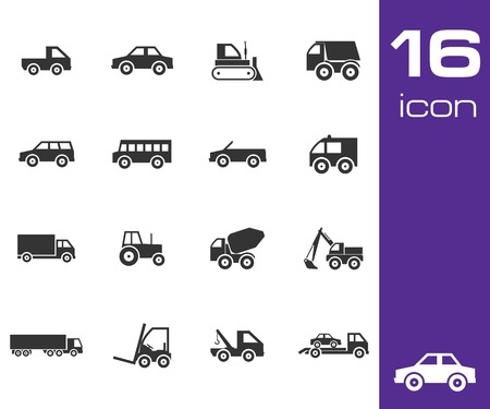 mini bus: Vector black vehicle icon set on white background