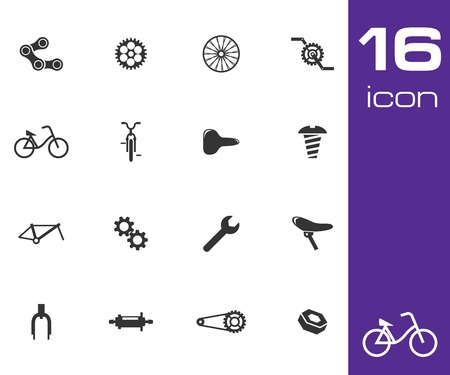activity icon: Vector black bicycle part icons set on white background