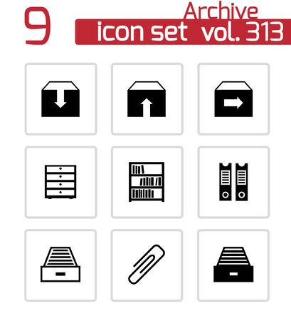 Vector archives noire icons set sur fond blanc