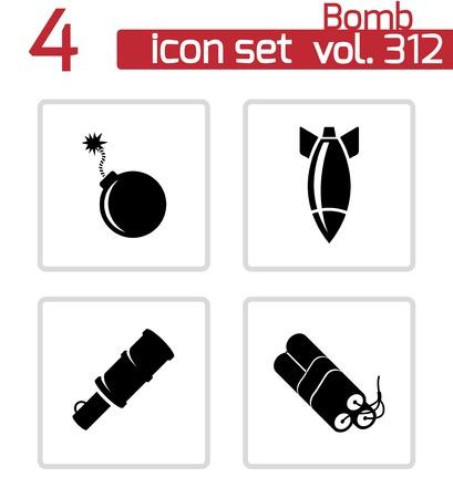 tnt: Vector black bomb icons set on white background