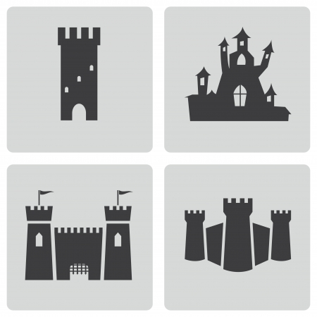 fortress: Vector black castle icons set on white background