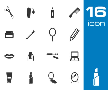 Vector black  cosmetics  icons set on white background Vector