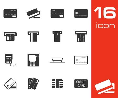 credit cart: Vector black  credit cart  icons set on white background Illustration