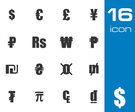 japanese currency: Vector black currency symbols set on white background