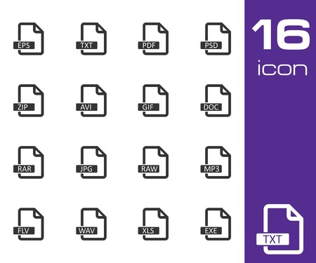 mov: Vector black  file format  icons set on white background