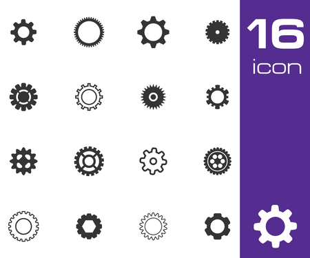 cogs and gears: Vector black  gears  icons set on gray background