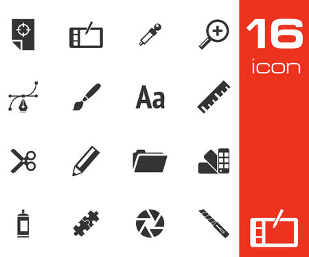 graphic tablet: Vector black  graphic design  icons set on white background Illustration