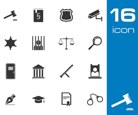 judicial system: Vector black justice icons set on white background