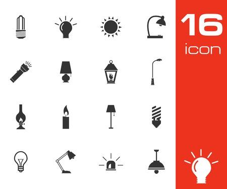 streetlamp: Vector black light icons set on white background
