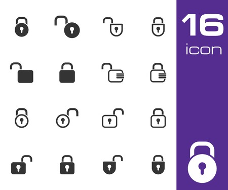Vector black  lock  icons set on white background Vector