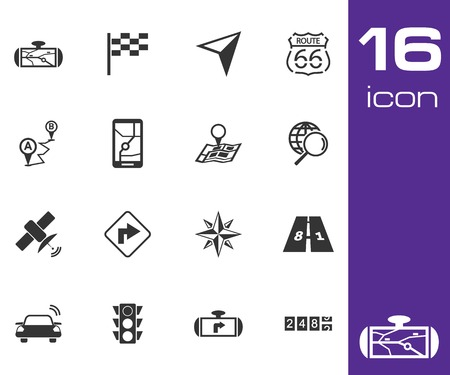 Vector black navigation icons set on white background Illustration
