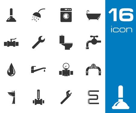 sewerage: Vector black  plumbing  icons set on white background
