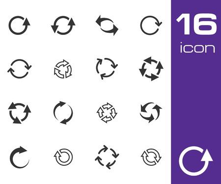 Vector black refresh icons set on white background