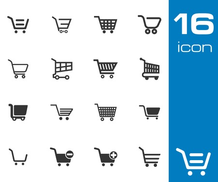 internet shop: Vector black  shopping cart  icons set on white background
