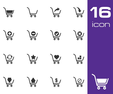 add to cart: Vector black  shopping cart  icons set on white background