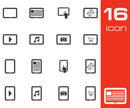 pda: Vector black tablet icons set on white background