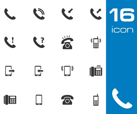 black phone and call: Vector black telephone icons set on white background
