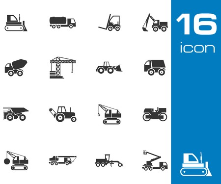 Vector black construction transport icons set white background