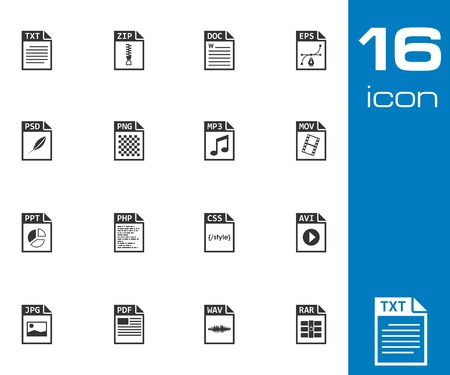 Vector black file type icons set on white background Vector