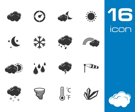day forecast: vector black weather icons set on white background
