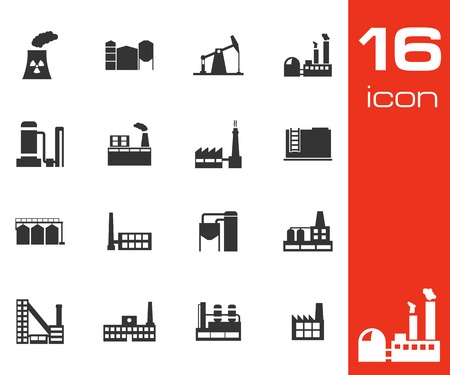 refinery engineer: Vector black factory icons set on white background