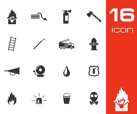 fire truck: Vector black  firefighter icons set white background Illustration