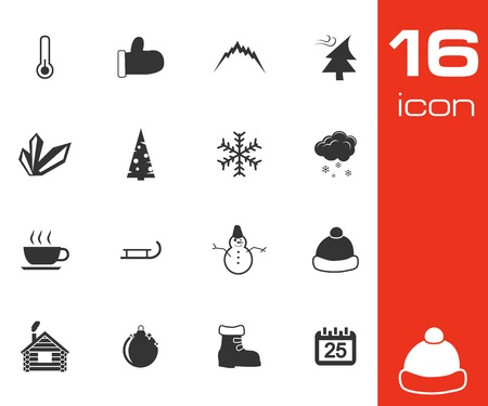Vector black  winter  icons set on white background Vector