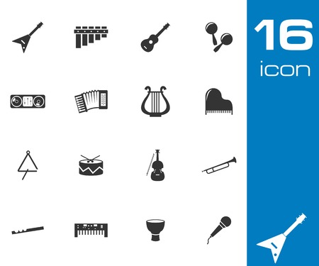 Vector black music instruments icons set white background Vector