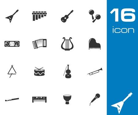 lute: Vector black music instruments icons set white background Illustration