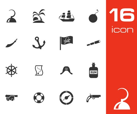 Vector black pirates icons set on white background Vector