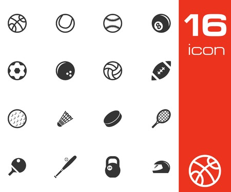 Vector black sport icons set on white background Vector