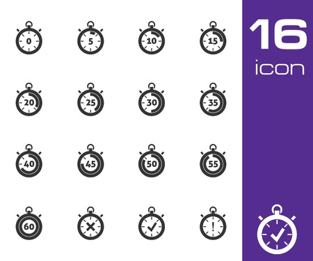 Vector black stopwatch icons set white background