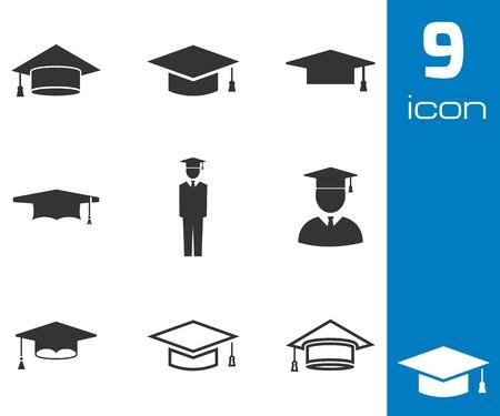 Vektorové černá akademické čepice ikony nastavit na bílém pozadí Ilustrace