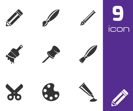 digitizer: Vector black art tool icons set on white background