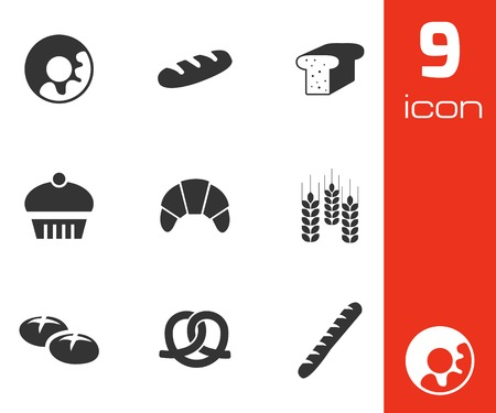 Vector black bakery icons set on white background Vector
