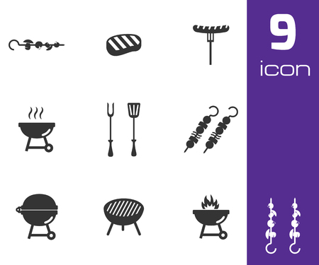 bbq party: Vector black barbecue icons set on white background