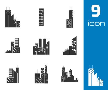 headquarter: Vector black building icons set white background Illustration