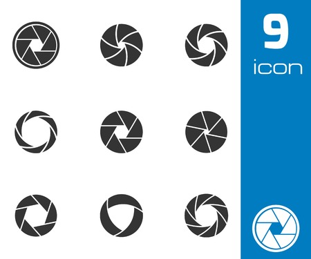 Vector black camera shutter icons set on white background Vector