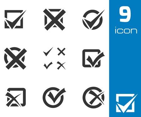 tick: Vector negro marcas de verificación iconos conjunto sobre fondo blanco