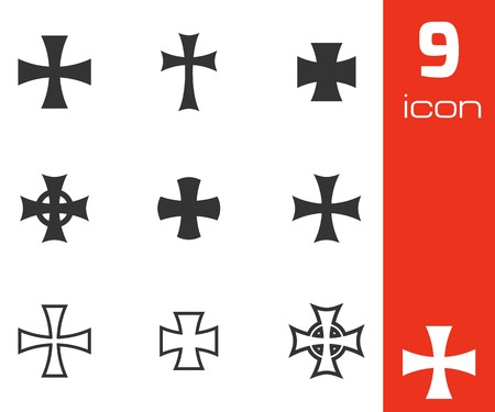 germanic people: Vector black choppers crosses icons  white background