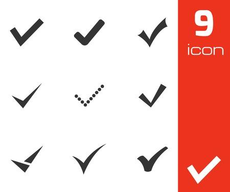 to tick: Vector iconos confirman negro establecen en el fondo blanco Vectores