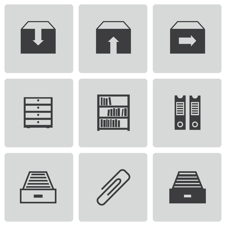 filing: Vector black archive icons set on white background Illustration