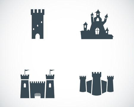 castle silhouette: Vector black castle icons set on white background