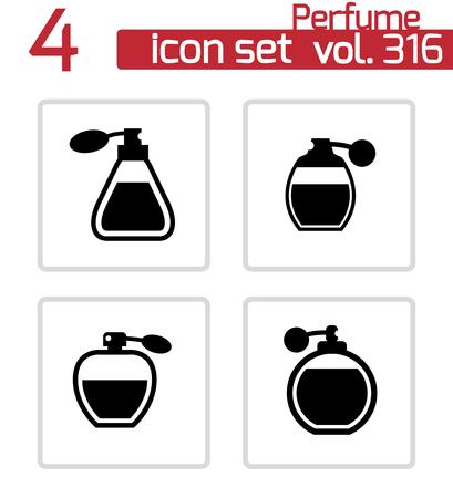 perfume: Vector black perfume icons set on white background