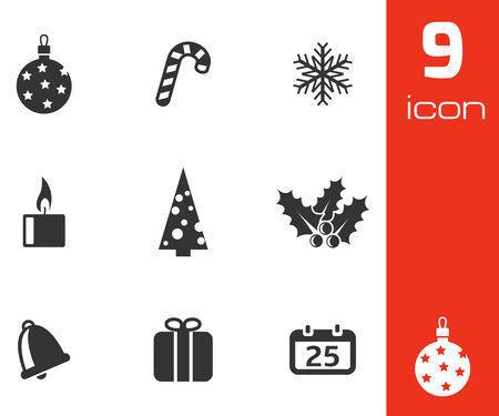 Vector black cristmas icons set on white background Vector