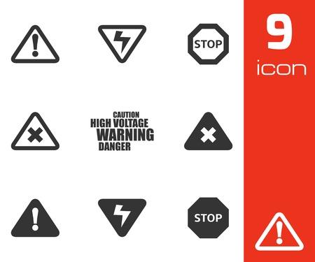 advertencia: Vector iconos de negro peligro establecidos en el fondo blanco Vectores