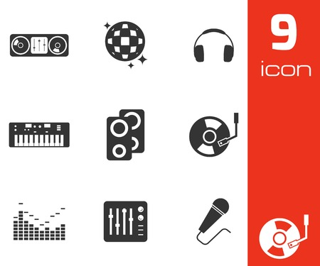 disk jockey: Vector black dj icons set on white background