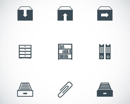 file box: Vector black archive icons set on white background Illustration